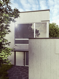 View to modern detached one-family house, 3D Rendering - UWF000156