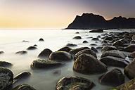 Scandinavia, Norway, Lofoten, Vestvagoy, Sundown at the coastline of Utakleiv - PU000022