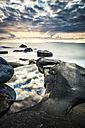 Scandinavia, Norway, Lofoten, Vestvagoy, Sundown at the coastline of Utakleiv - PUF000019