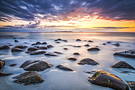 Scandinavia, Norway, Lofoten, Vestvagoy, Sundown at the coastline of Utakleiv - PU000016