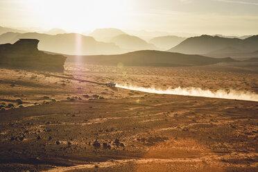 Jordan, Sand dust from a 4-wheeler in Wadi Rum desert - FLF000495