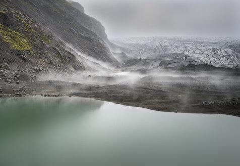 Iceland, South of Iceland, Skaftafell, Skaftafellsjoekull in the fog - MKFF000095