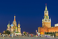 Russia, Central Russia, Moscow, Red Square, Saint Basil's Cathedral Kremlin wall and Spasskaya Tower in the evening - FO006819