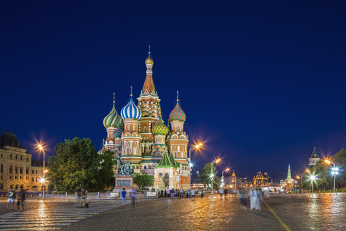 Russia, Central Russia, Moscow, Red Square, Saint Basil's Cathedral in the evening - FOF006821