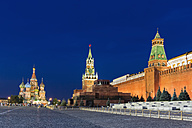 Russia, Central Russia, Moscow, Red Square, Saint Basil's Cathedral, Kremlin Wall, Kremlin Senate, Senate Tower, Spasskaya Tower and Lenin's Mausoleum in the evening - FO006825