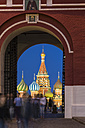 Russia, Central Russia, Moscow, Red Square, Saint Basil's Cathedral, Iberian Gate and tourists in the evening - FOF006830