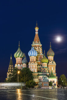 Russia, Central Russia, Moscow, Red Square, Saint Basil's Cathedral and Monument to Minin and Pozharsky at night - FOF006833