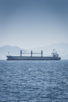 Spain, Andalusia, Tarifa, Strait of Gibraltar, Cargo ship - KBF000106