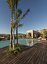 Morocco, Fes, view to swimming pool and terrace of a hotel - KM001354