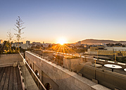 Morocco, Fes, roof terrace of a hotel by sunset - KM001364