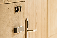 Morocco, Fes, room number and door knob in a hotel - KM001397