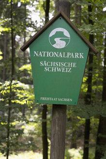 Germany, Saxony, sign of Saxon Switzerland National Park - MS004091