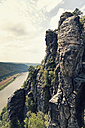 Germany, Saxony, Elbe Sandstone Mountains, view from Bastei Bridge at Elbe River - MSF004095