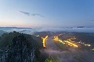Germany, Saxony, Elbe Sandstone Mountains, view from Bastei to Rathen at Elbe River - MSF004102