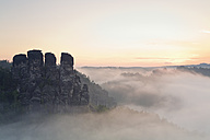 Germany, Saxony, view to Gansfels at Elbe Sandstone Mountains in the morning mist - MSF004123
