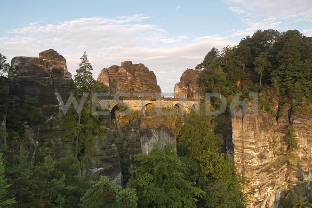 Germany, Saxony, Elbe Sandstone Mountains, view to Bastei Bridge - MSF004125