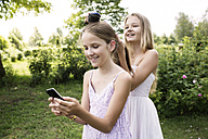 Girl using her smartphone while her sister brushing her hair - GDF000385