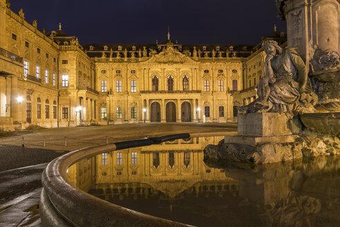 Germany, Bavaria, Wuerzburg, Wuerzburg Residence in the night - SJF000120