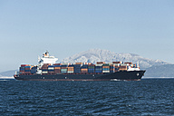 Morocco, Tangier, Strait of Gibraltar, Container ship, Mount Moses in the background - KBF000114