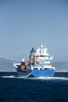 Spain, Andalusia, Tarifa, Strait of Gibraltar, Cargo ship - KB000111