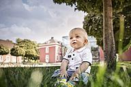 Germany, Oberhausen, Blond baby boy sitting in park of Oberhausen Castle - GDF000400