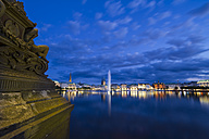 Germany, Hamburg, Inner Alster and Alster fountain at night - KRPF001011