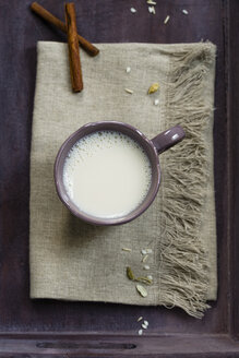 Cup of soy rice milk spiced with cardamom and cinnamon, elevated view - MYF000525