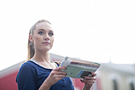 Portrait of young woman with city map - ZEF000067