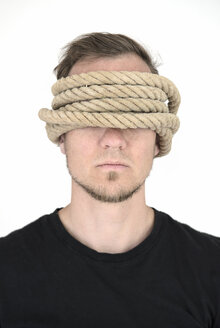 Man with covering eyes and ears, rope - MW000067