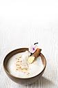 Chai Latte Iced tea in a tea bowl with cinnamon stick and vanilla pod - CSTF000397