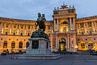 Austria, Vienna, view to lighted Hofburg Palace at twilight - EJWF000529