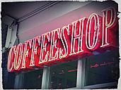 Netherlands, Amsterdam, Illuminated advertising for coffeshop - HOHF000960
