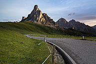 Italy, Veneto, Province of Belluno, Giau Pass in front of Monte Nuvolau in the morning - MKFF000116