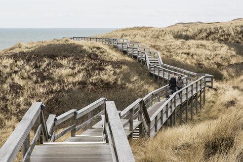Germany, Schleswig-Holstein, Sylt, Wooden boardwalk through dunes - SRF000775