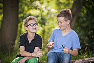 Two boys sitting on a tree trunk eating an apple - PAF000873