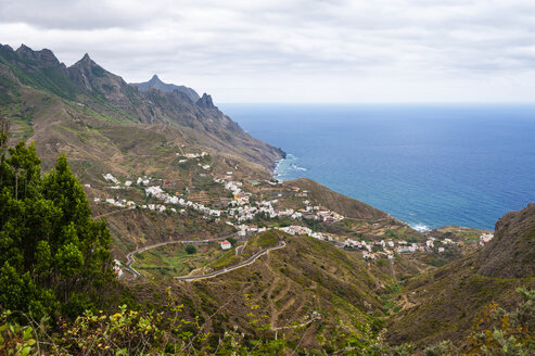 Spain, Canary Islands, Tenerife, Veew of Taganana on the north coast - RJF000257
