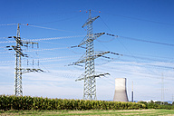 Germany, Rhineland-Palatinate, Muelheim-Kaerlich, nuclear power plant and power pylon - CSF022736