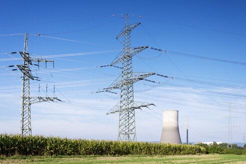 Germany, Rhineland-Palatinate, Muelheim-Kaerlich, nuclear power plant and power pylon - CSF022736