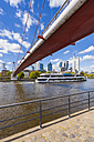 Germany, Hesse, Frankfurt, view to Main River with tour boat and financial district in the background - WD002588
