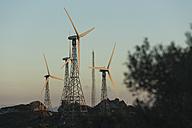 Spain, Andalusia, Tarifa, Wind farm in the evening - KBF000150