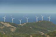 Spain, Andalusia, Tarifa, Wind farm at the coast - KBF000161