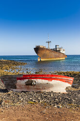Spain, Canary Islands, Lanzarote, Arrecife, Punta Chica, Ship wreck Telamon, old wooden boat - AMF002767