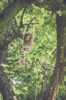 Little girl climbing on a tree in the garden - SARF000783
