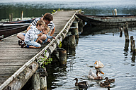 Germany, Rhineland-Palatinate, Laacher See, father with two sons on jetty feeding ducks - PAF000924