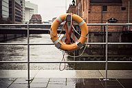 Germany, Hamburg, Old Warehouse District, Hafencity, Lifesaver, Maritime Museum in the background - ASC000003