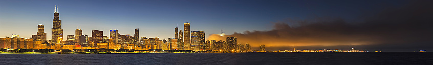 USA, Illinois, Chicago, skyline with Lake Michigan at dusk - FOF006875