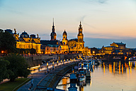 Germany, Saxony, Dresden, View of Bruehl's Terrace, Sekundogenitur, Hausmann Tower, House of the Estates, Dresden Cathedral, Semper Opera House and Augustus bridge with Elbe waterfront in the evening - WGF000430