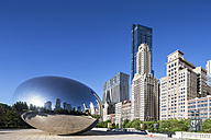 USA, Illinois, Chicago, view to Cloud Gate on AT and T Plaza at Millennium Park and skyscrapers in the background - FO006978