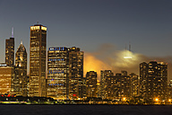 USA, Illinois, Chicago, Skyline and Lake Michigan in the evening light - FOF007214