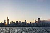 USA, Illinois, Chicago, Skyline, Willis Tower and Lake Michigan at sunset - FO007227